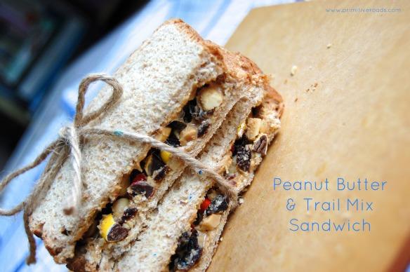 PB and Trail Mix sandwich